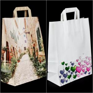 Kraft Paper Tote Bags with Motif