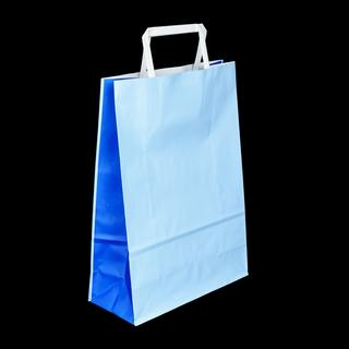 Two-Tone Kraft Paper Bags 320x420+130mm Blue+Lightblue